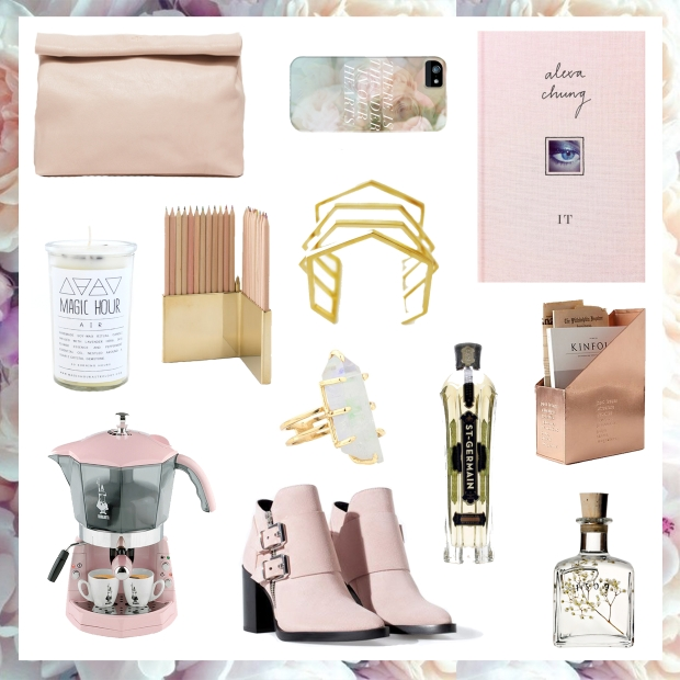 marie turnor lunch bag in pebble blush; fieldguided thunder roses phone case; it by alexa chung; magic hour candle in air; school house electric brass colored pencil holder; mirlo honeycomb cuff; hiny design bialetti mokona coffee machine; for love & lemons celestial aura ring; st germain elderflower liqueur; anthropologie copper magazine holder; zara suede ankle boot; 1509 pure fragrance oil in sophia